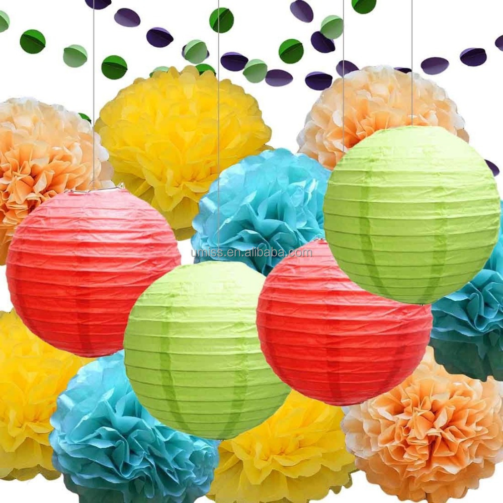 Rainbow Party Decoration Kit Tissue Paper Pom Poms Flowers Papers Lanterns Circle Garland Multi Color Theme Birthday Wedding
