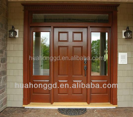 junfu foshan puerta de madera con vidrio puerta de entrada