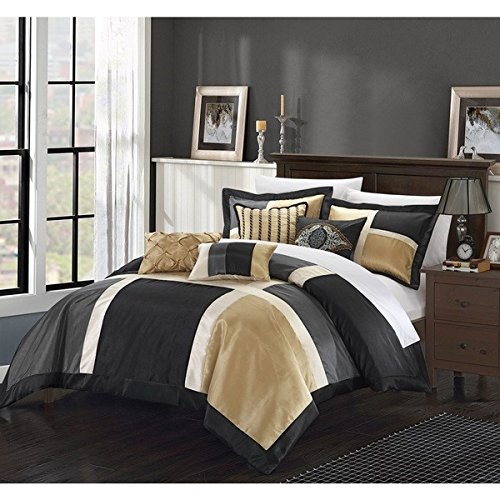 D&H 11 Piece Black Gold Embroidered Patchwork Comforter Queen Set, Grey Adult Bedding Master Bedroom Stylish Color Block Pattern Solid Color Elegant Themed Traditional, Microfiber Polyester