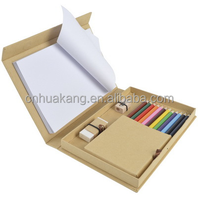 bc5fe5a6cda Natural fold out desk set with 12 coloured pencils