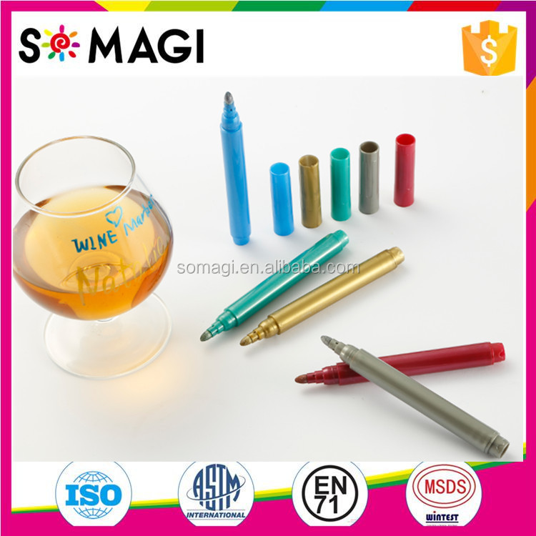 Hot Selling High Quality Metallic Colors Wine Glass Marker Pen Food Grade for Party Specialized Usage