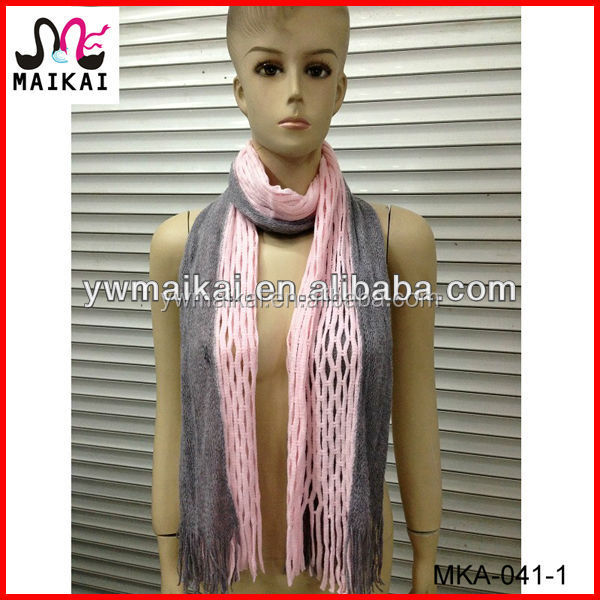 Two tone 100% acrylic knitting free pattern scarf and snood