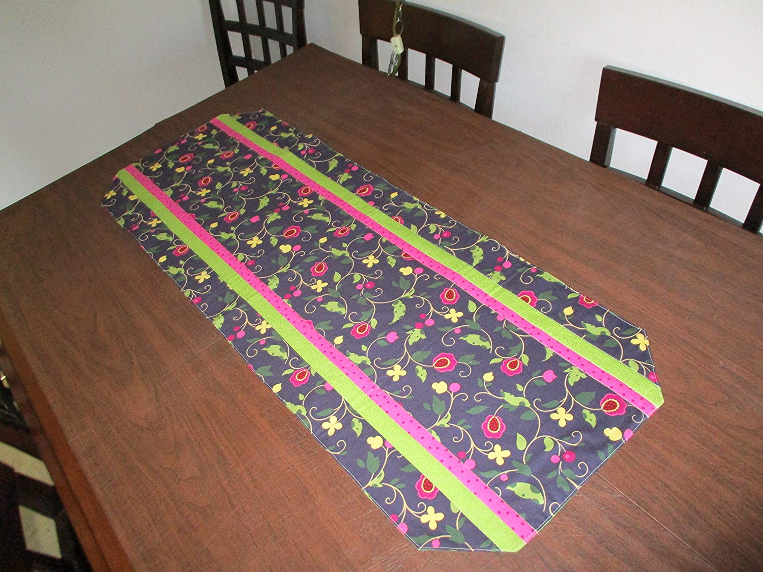 """TABLE RUNNER DARK BLUE FLORAL WITH PINK AND LIME GREEN ACCENTS 15"""" X 41"""""""
