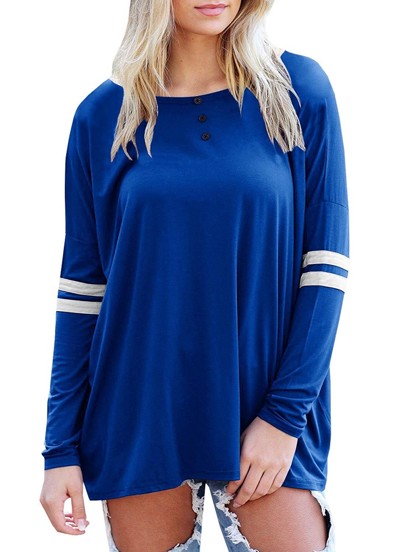 add90e766a7de8 Get Quotations · JOYCHEER Womens Henley Tops Long Sleeve Cute Loose Fitting  Casual Patchwork Tee T-Shirts