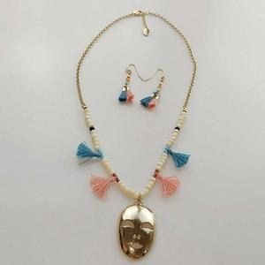 Ethnic and exotic customs mask pendant necklace and earring set