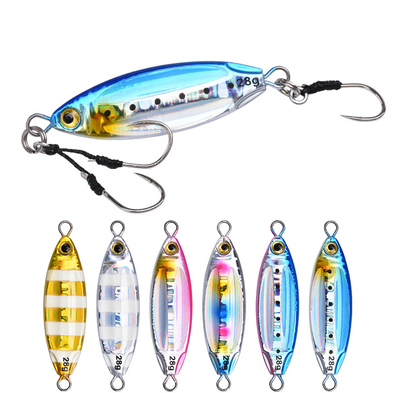 ALLBLUE New SLOWER OVAL Metal Slow Jig Cast Spoon 28G 40G 60G Artificial Bait Shore Fishing Jigging Lead Metal Fishing Lure, 6 colors