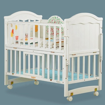 Baby Cot with Drawer Storage Crib Multi-Function Belt Roller Baby Play Fence White Wood Crib