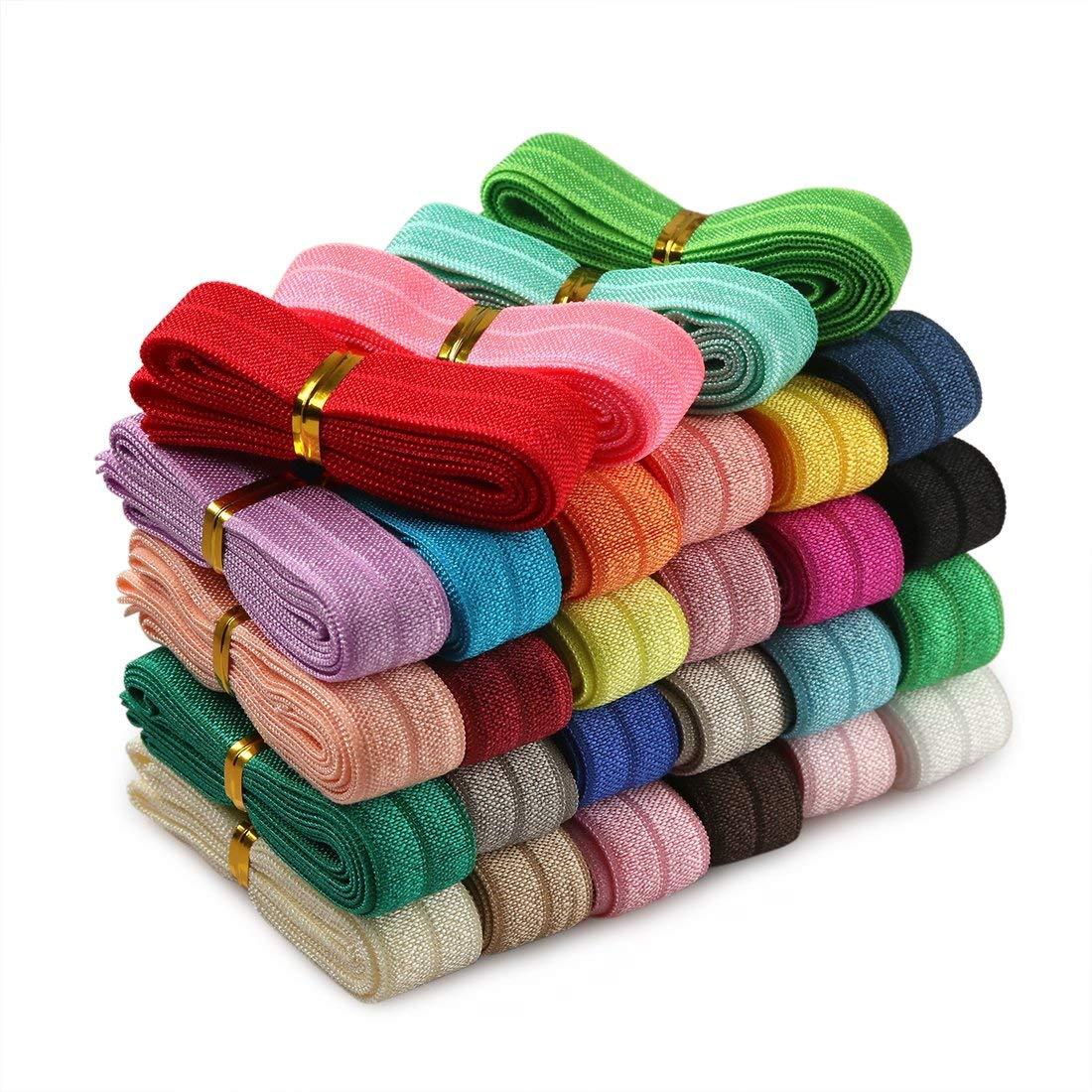 Grab Bag Printed Fold Over Elastic Stretch Foldover FOE Elastics for Hair Ties Headbands Multi,10 Yards 5//8 Fold Over Elastic-10 Yards- FOE