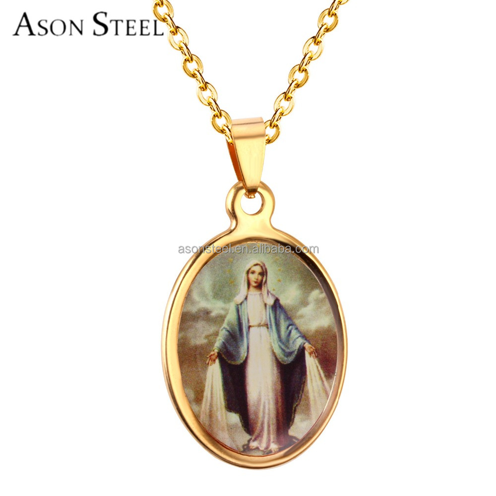 Religion Stainless Steel Jesus Piece Pendant Photo Frame Private Label Jewelry wholesale