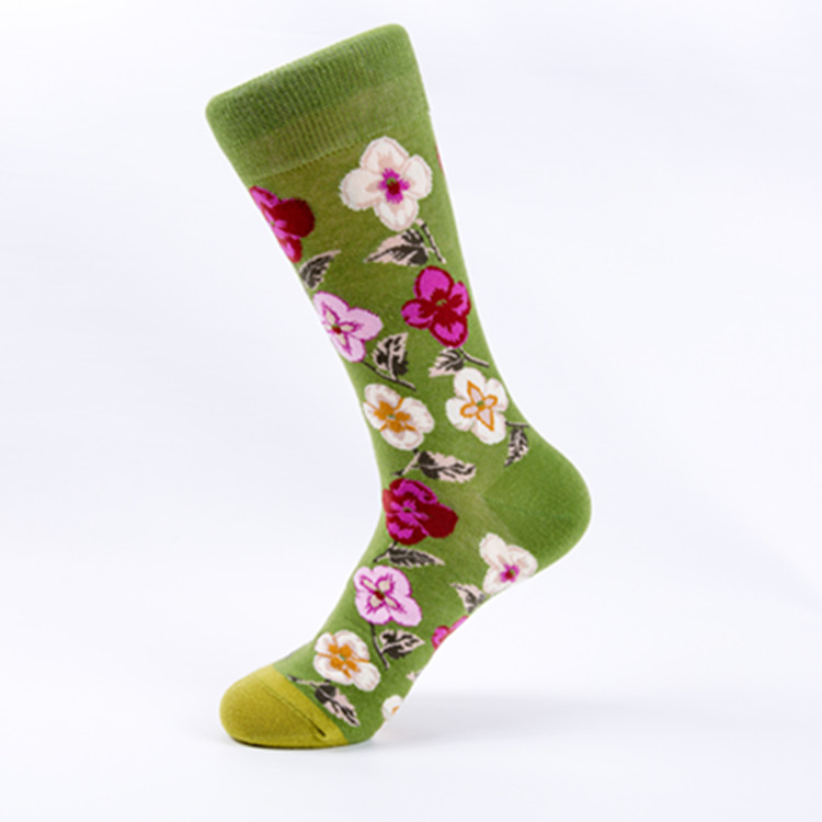 Fashion colorful flower cotton woman crew socks women