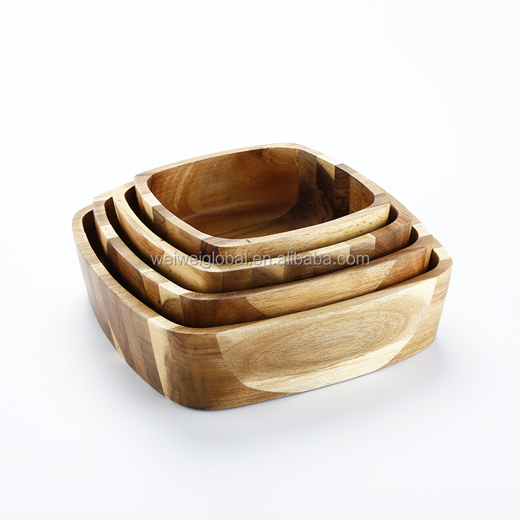 Acacia Wood Square Design Sala/Rice/Food Bowl 4pcs Set