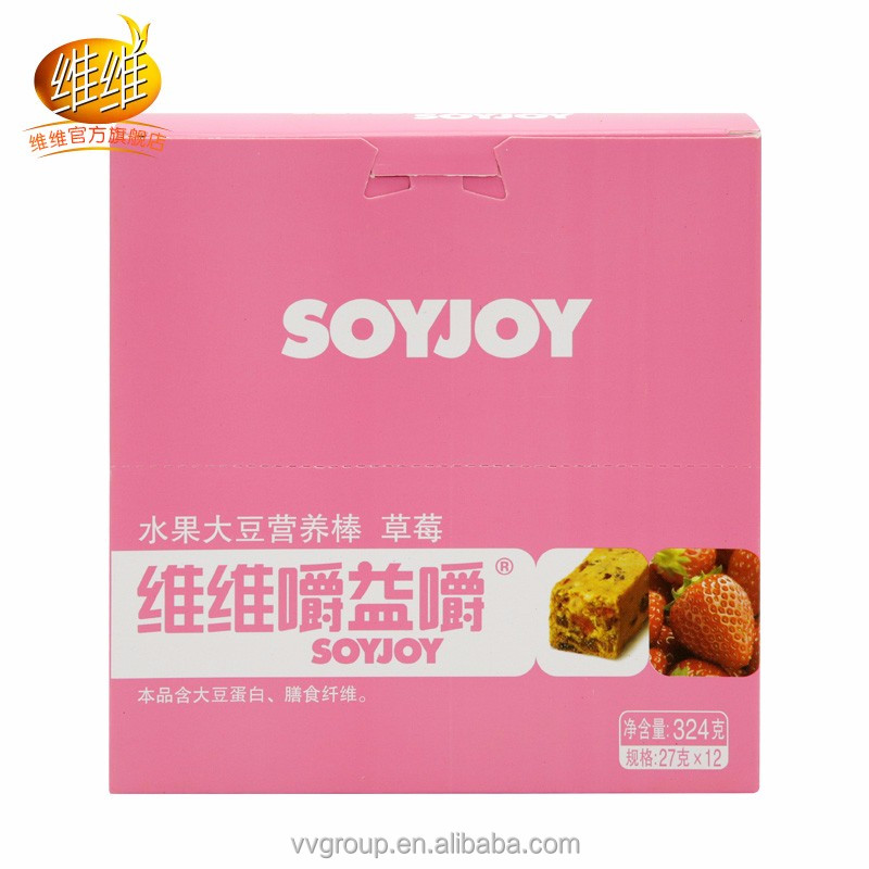 Strawberry cake Low- GI Snack Energy SOYJOY Strawberry Fruit Soybean Nutrition Bar