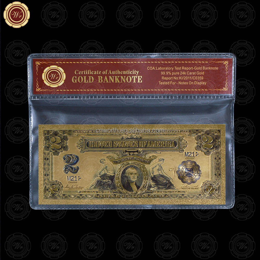 Wr USA Series Paper <strong>Craft</strong> Colored 1899 $2 Dollar Bill Collectible Gold Banknote with Free Frame for Value Collection