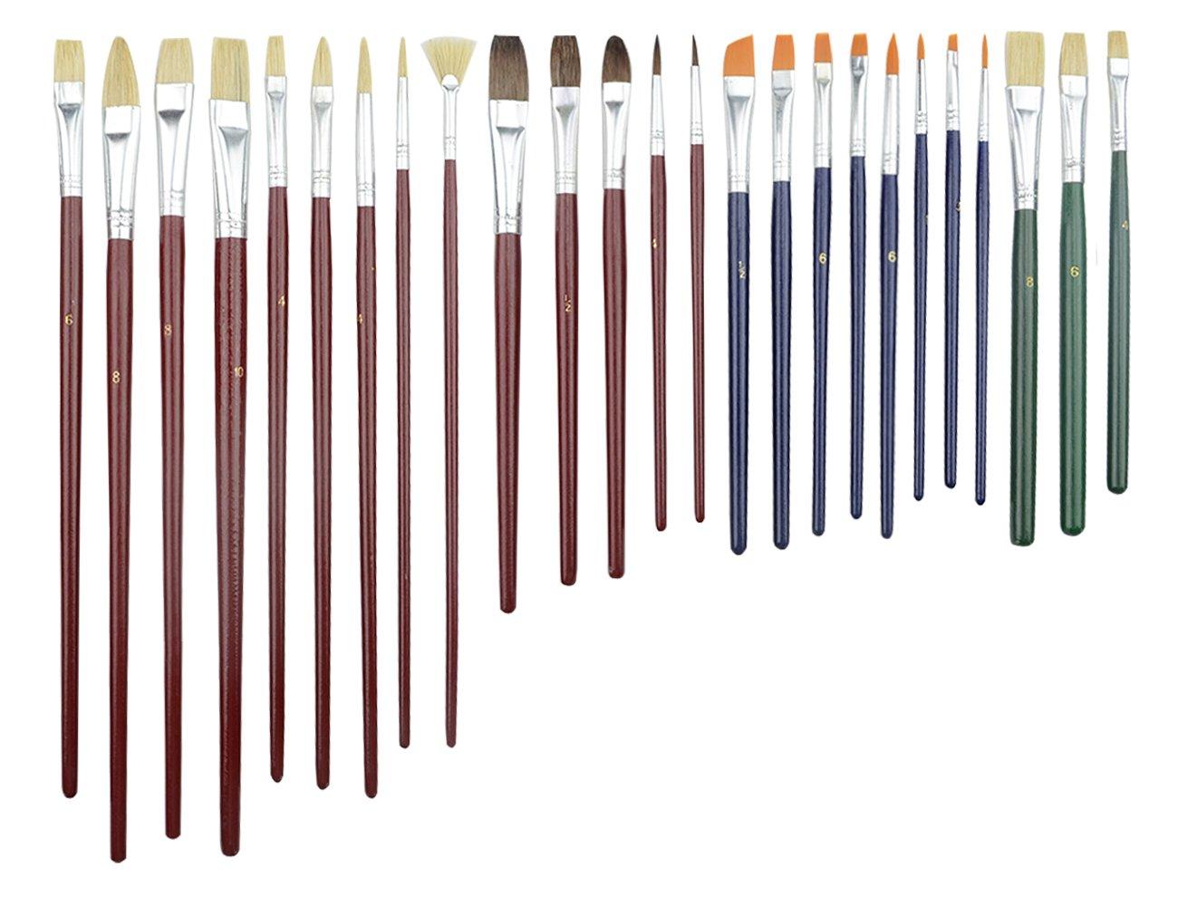 TOVOT 25 PCS Paint Brush Set Paint Artist Brush Set Artist Detail Paint Brush Set-Miniature Liners Brushes for Fine Detailing,Model Painting,Airplane Kits,Craft Decorations,Oil Painting