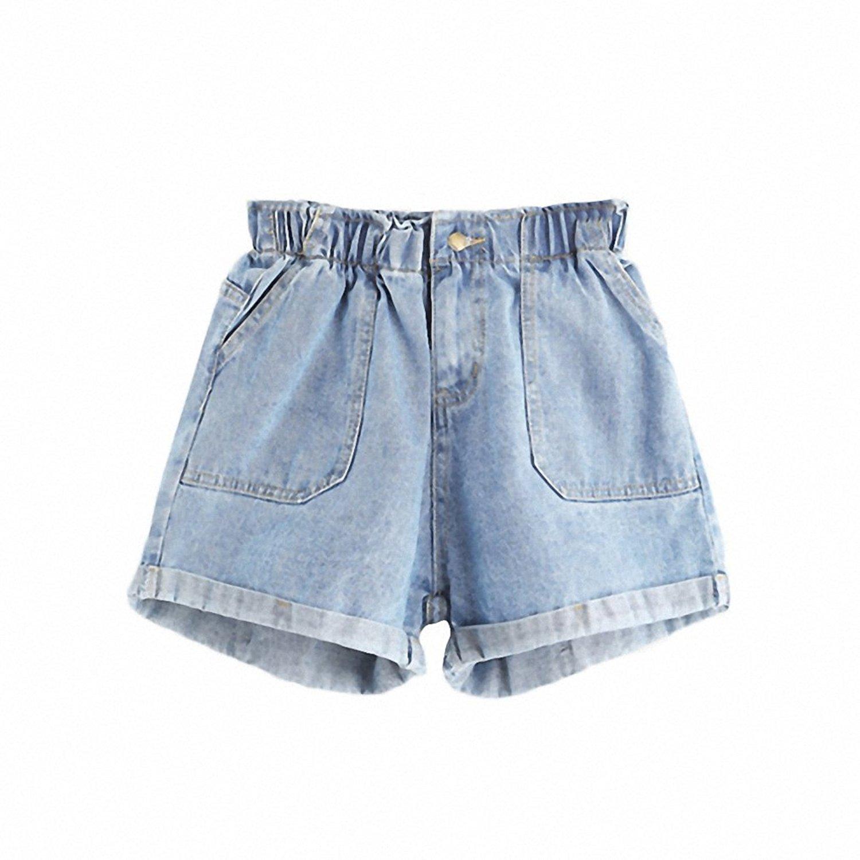e76dbb6895d Get Quotations · Mid Waisted Shorts for Women Jean Shorts Women Summer Blue  Elastic Waist Rolled Hem Ladies Casual