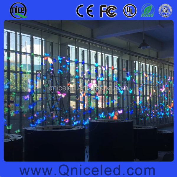 80% Transparent LED Video Advertising Display Screen, Light weight transparent led display