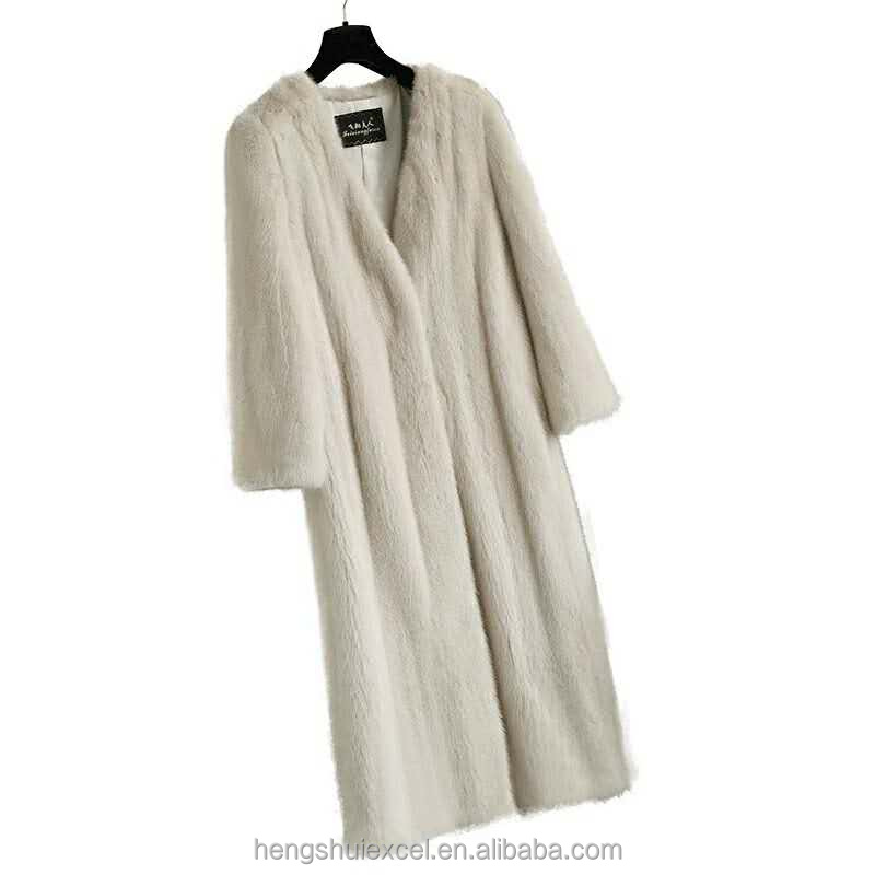 mink fur coat 90cm long design white mink fur women cardigan
