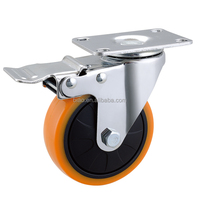 HIGH QUALITY Swivel Casters Orange Polyurethane Wheel with Total Lock Brake