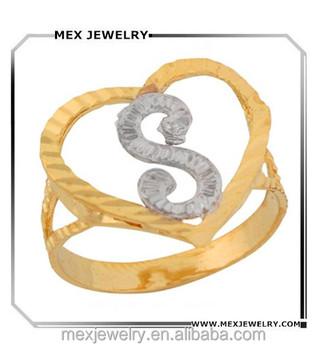 Two Tone Gold Fancy Script Letter S Beautiful Heart Initial Ring