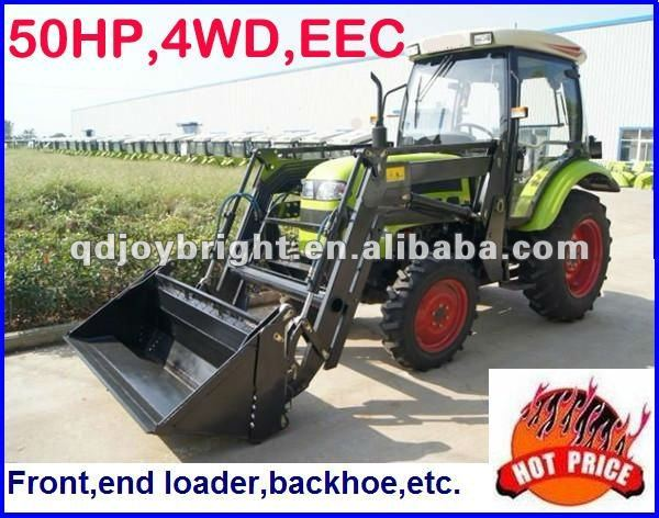 50hp farm tractor with front end loader,12F+4R shift,Double disc clutch,hydraulic steering,3point linkage,traction system,EEC