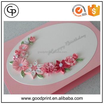 Luxury Handmade Decoration Rose Birthday Greeting Card Birthday