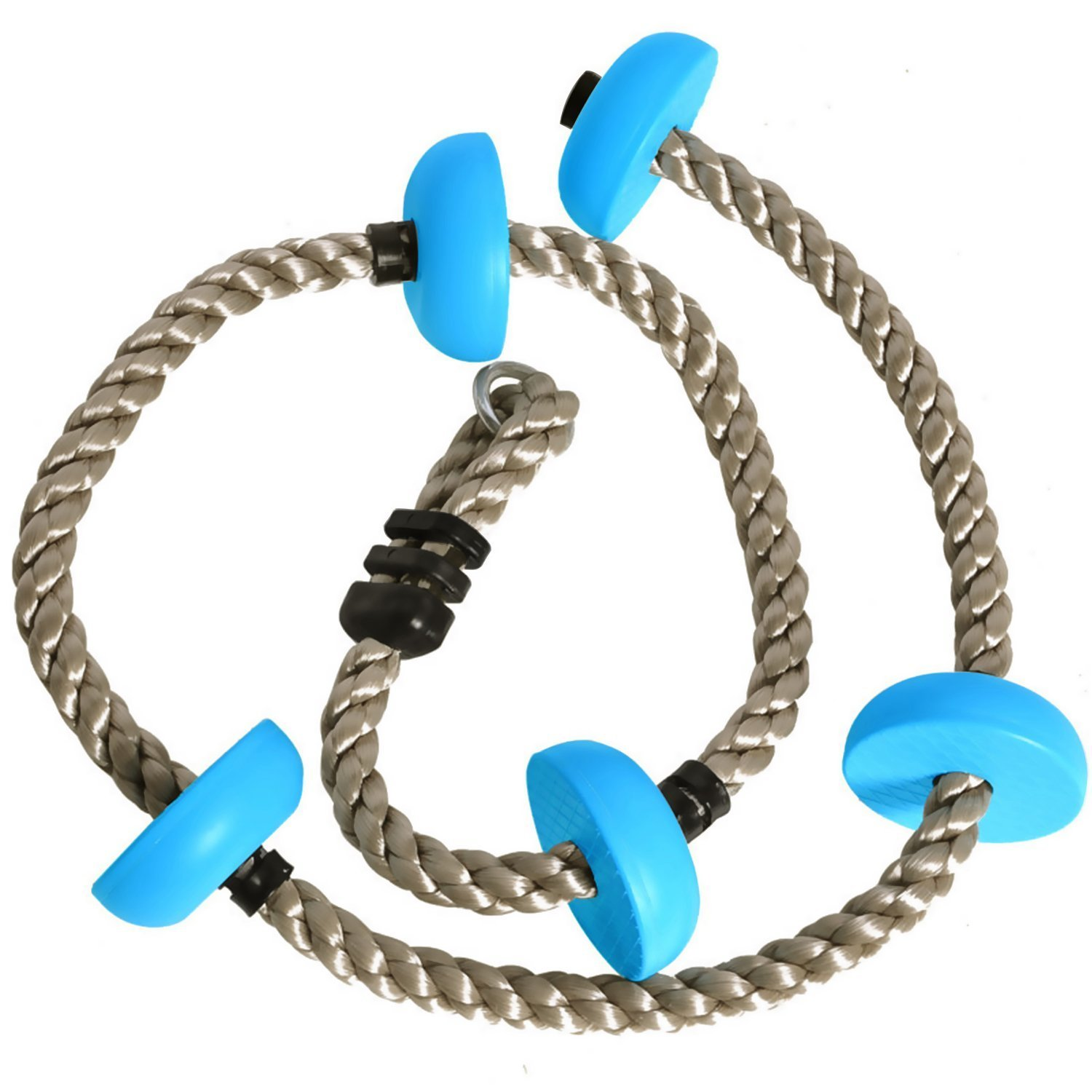 Climbing Rope, Wuudi 6.5 ft Five Knotted Climb Rope with Platforms Foot Holds ( Rubber Base)for kids-Great as Backyard ,Tree House ,Playground and Swing Set Accessories