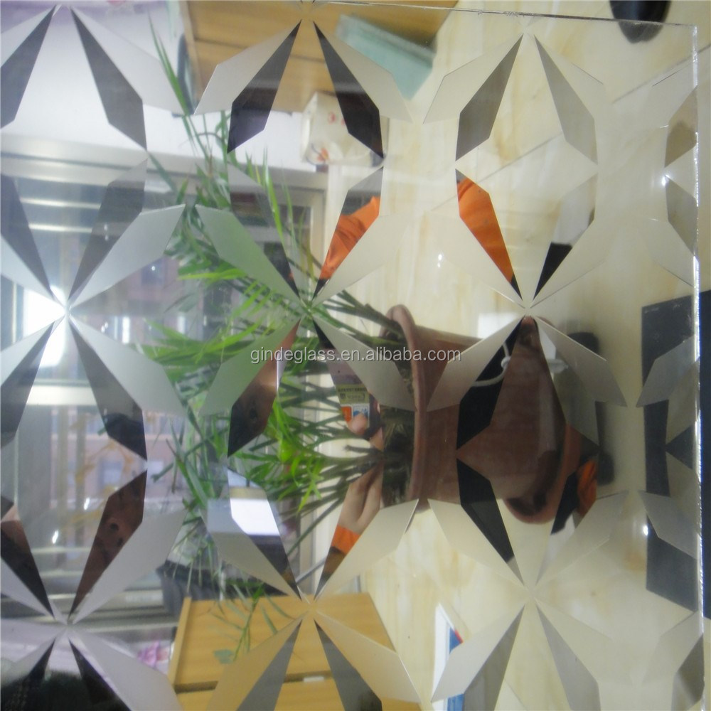 titanium with acid etched glass ,acid for glass etching, flower design glass etching