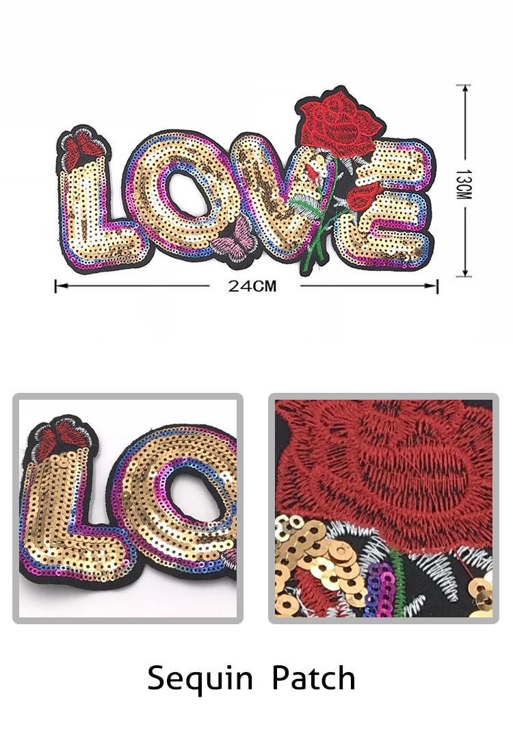 cc84808b0 Nuevo listado hecho a mano carta de amor lentejuelas parche con bordado de  mariposa y rosa