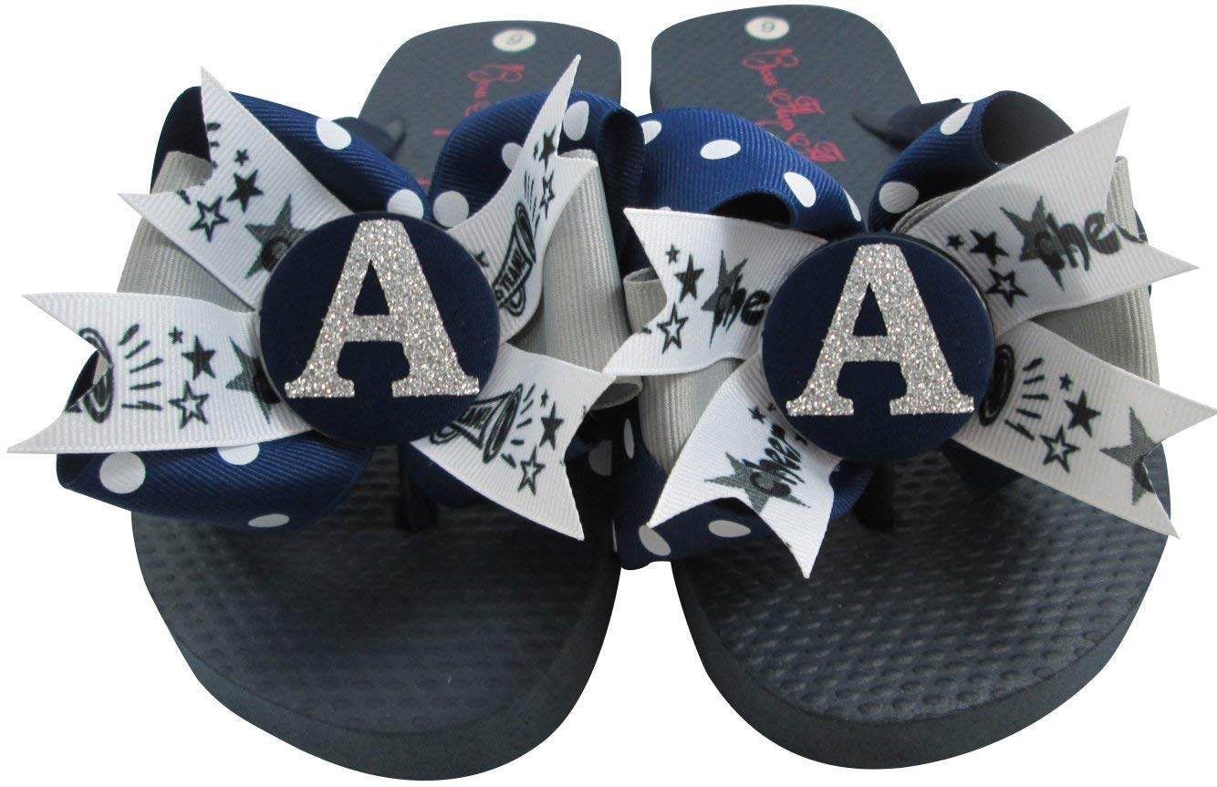 198159753854 Get Quotations · Cheerleading Bow Flip Flops with Customized Ribbon    Initial Glitter Colors