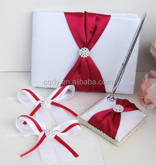 Elegant Wedding Set of Guest Book and Pen with Brooch Wedding Favor for Wine Glass Decoration Satin Wedding Centerpiece