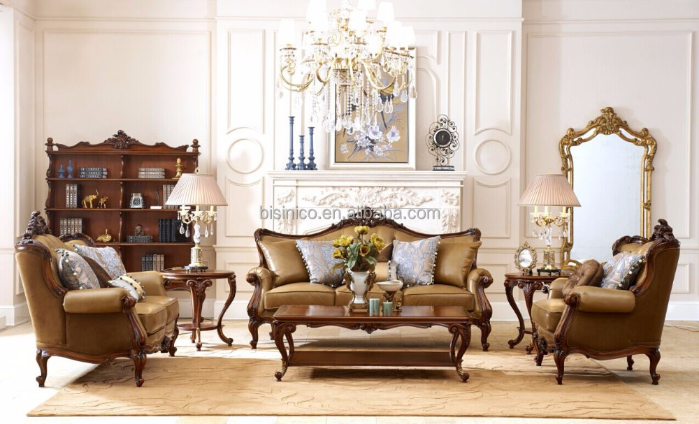 Luxury French Baroque Living Room Sofa Clical Wood Frame Leather Set Royal Palace Hand Carved Furniture