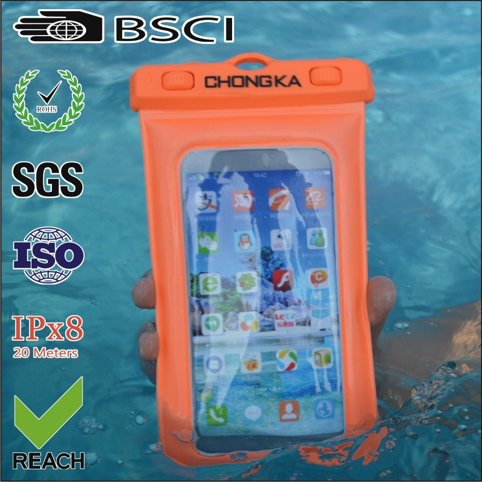 waterproof pvc phone case/waterproof case cover for phone/waterproof bag case cover