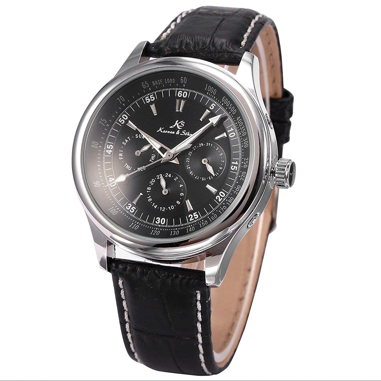 Mix&Rock KS Mens Date Day 24 Hours 6 Hand Automatic Mechanical Wrist Watch
