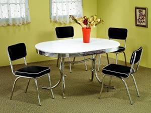5 Piece White & Chrome Retro Table & Chair Set