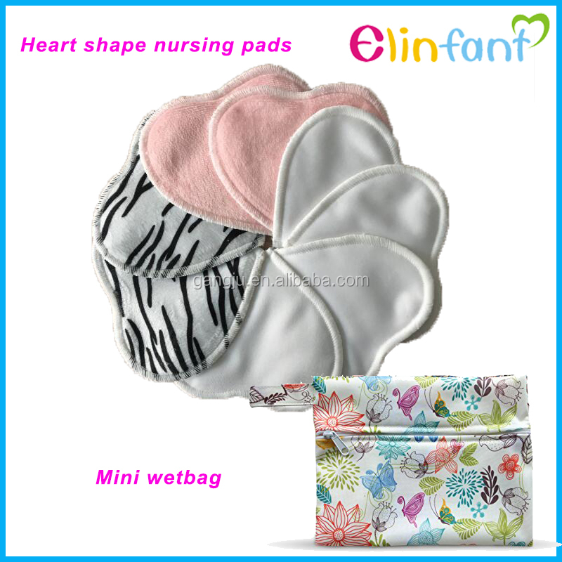Washable Pul Minky Heart Shape Organic Nursing Pads Wholesale