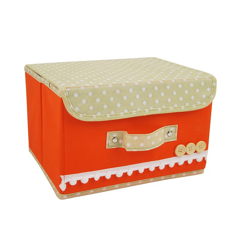Detachable Closure Dots Design Folding Storage Box Zakka Organizer Bin Closet For Shoe Laundry Clothing Toy Underwear Boxes Tidy