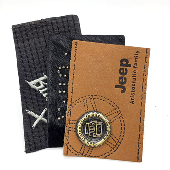 Custom Leather Patch Label With Logo Metal For Cap And Jeans And Shoes