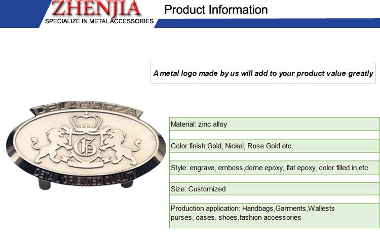 metal hardware metal logo plate for handbag and garment use