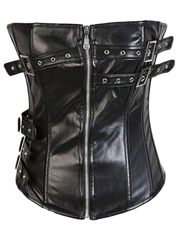 Dingang Womens Faux Leather Zipper Front Corset