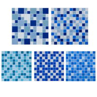 Outdoor spanish swimming pool tiles sky blue bathroom glass mosaic