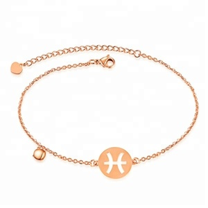 Bomei hot selling 316L stainless steel rose gold zodiac charms jewelry anklet chain bracelet body chain jewelry for women
