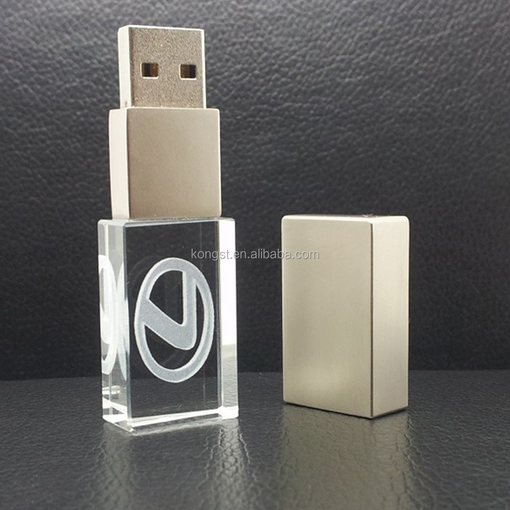 Hot Selling Metal Material Transparent 3D Customized Laser Engraving Logo USB 2.0 Crystal Glass USB Flash Pen Drive Memory Stick