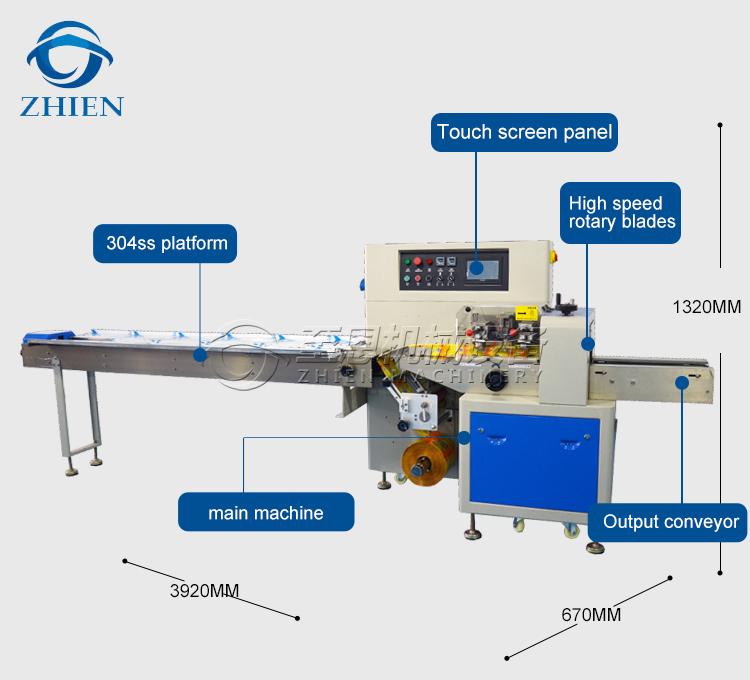 Commerce Assurance Horizontale Flux D'oreiller Sachet Machines D'emballage Alimentaire