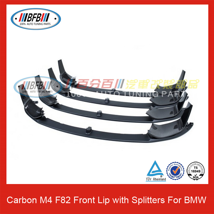 Auto bodykits carbon front lip spoiler with splitters type for BMW M4 F82 front bumper lip
