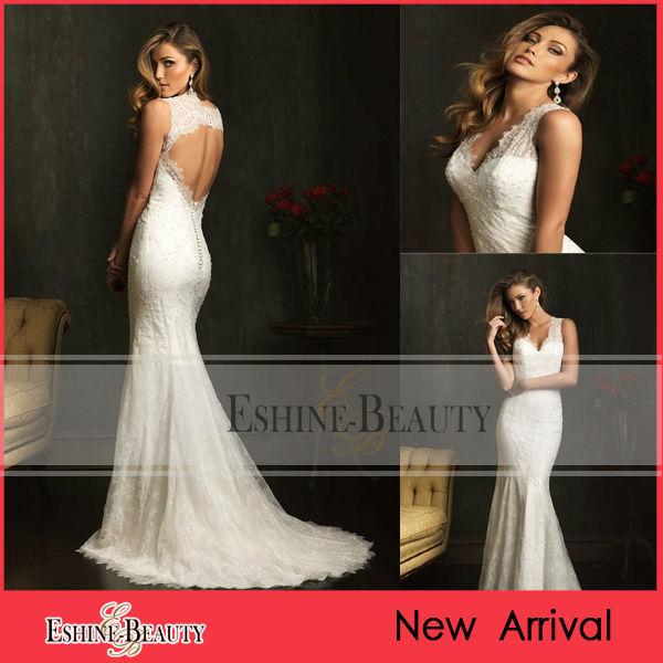 v elegante escote de encaje sin espalda y sirena vestidos de novia