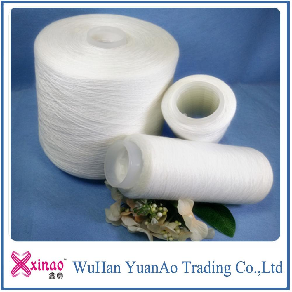 Bright and raw ,optical , bleached white 100% polyester Sewing Thread/polyester Yarn Manufacture in China