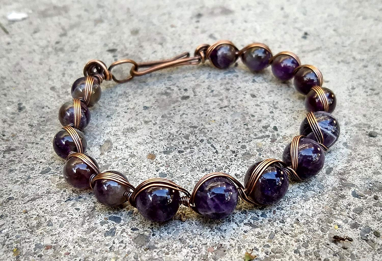 Get Quotations Amethyst Beaded Bracelet Copper Wire Wred Gemstone Oxidized