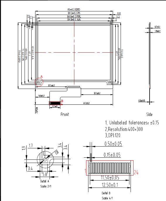 4 2 inch epaper e ink display 400x300 pixels