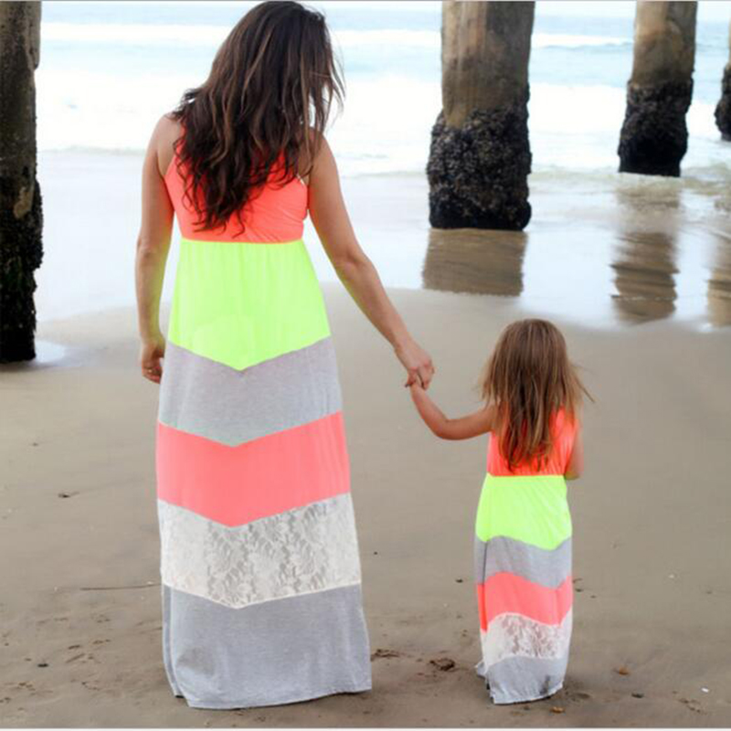 DM 509 new fashion hot selling long tank dress lace joint stripe parent child outfits mother and daughter matching dresses