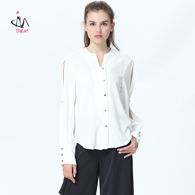 0752950c1e4f7 الجبهة قصير عودة طويل أعلى أحدث القمصان تصاميم للنساء أزرار شوكة بأكمام  طويلة قميص أبيض المرأة